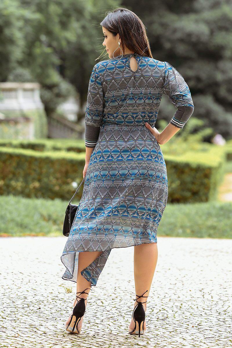 Vestido Crepe Estampado com Cortes Assimétricos Kauly 2491