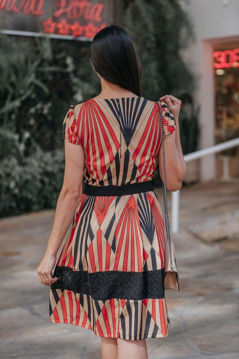 Vestido Crepe Estampado Luciana Pais 92286