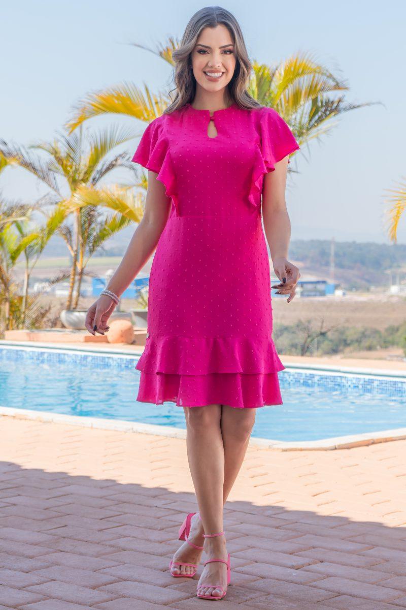Vestido Crepe Pipoquinha Pink Luciana Pais 93151