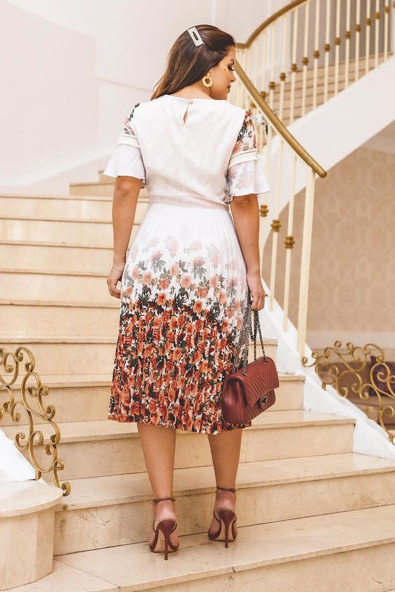 Vestido Crepe Plissado Florido Kauly 2756 Bege