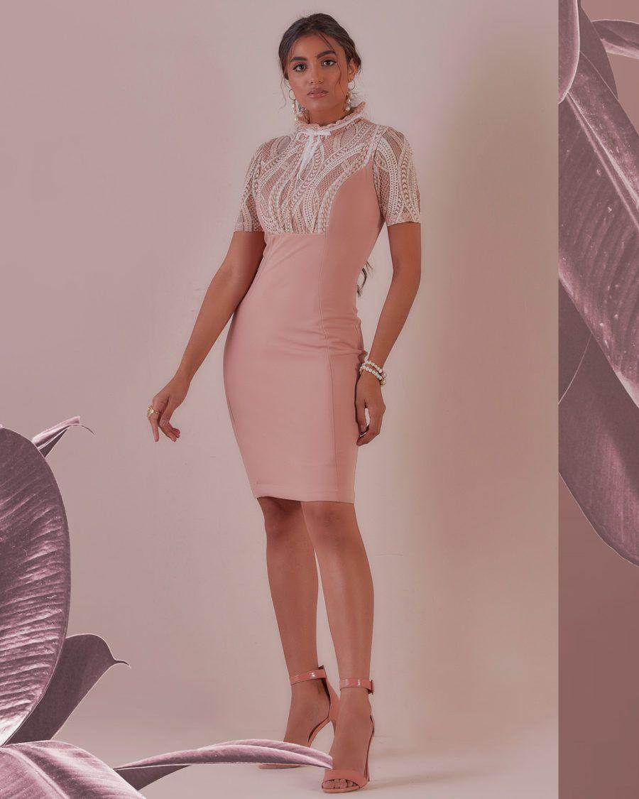 Vestido Crepe Scuba com Renda Bicolor Off e Rose Cristiane Resende