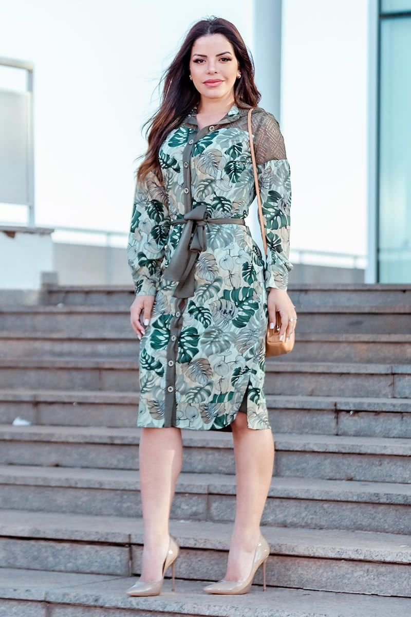 Vestido Crepe  Seda Estampa Kauly 2836 Verde