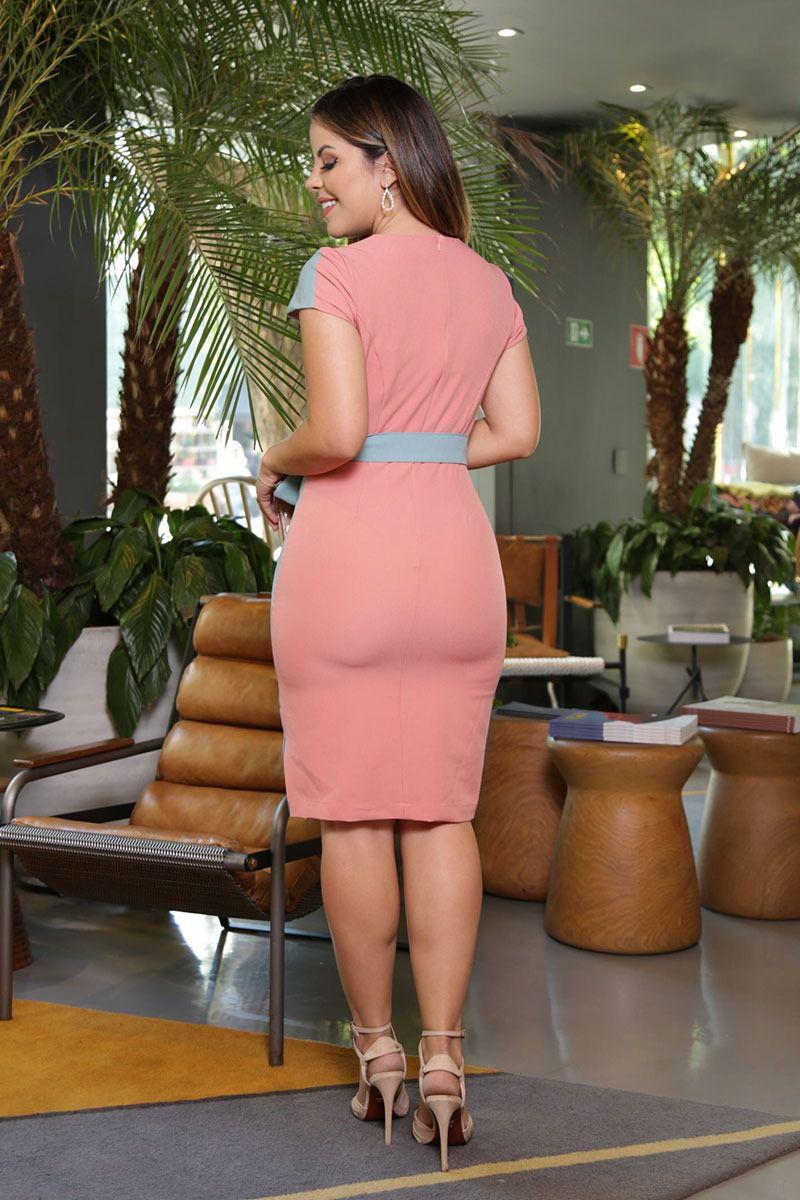 Vestido Crepe Stretch Bicolor com Forro Kauly Moda Evangélica 2584