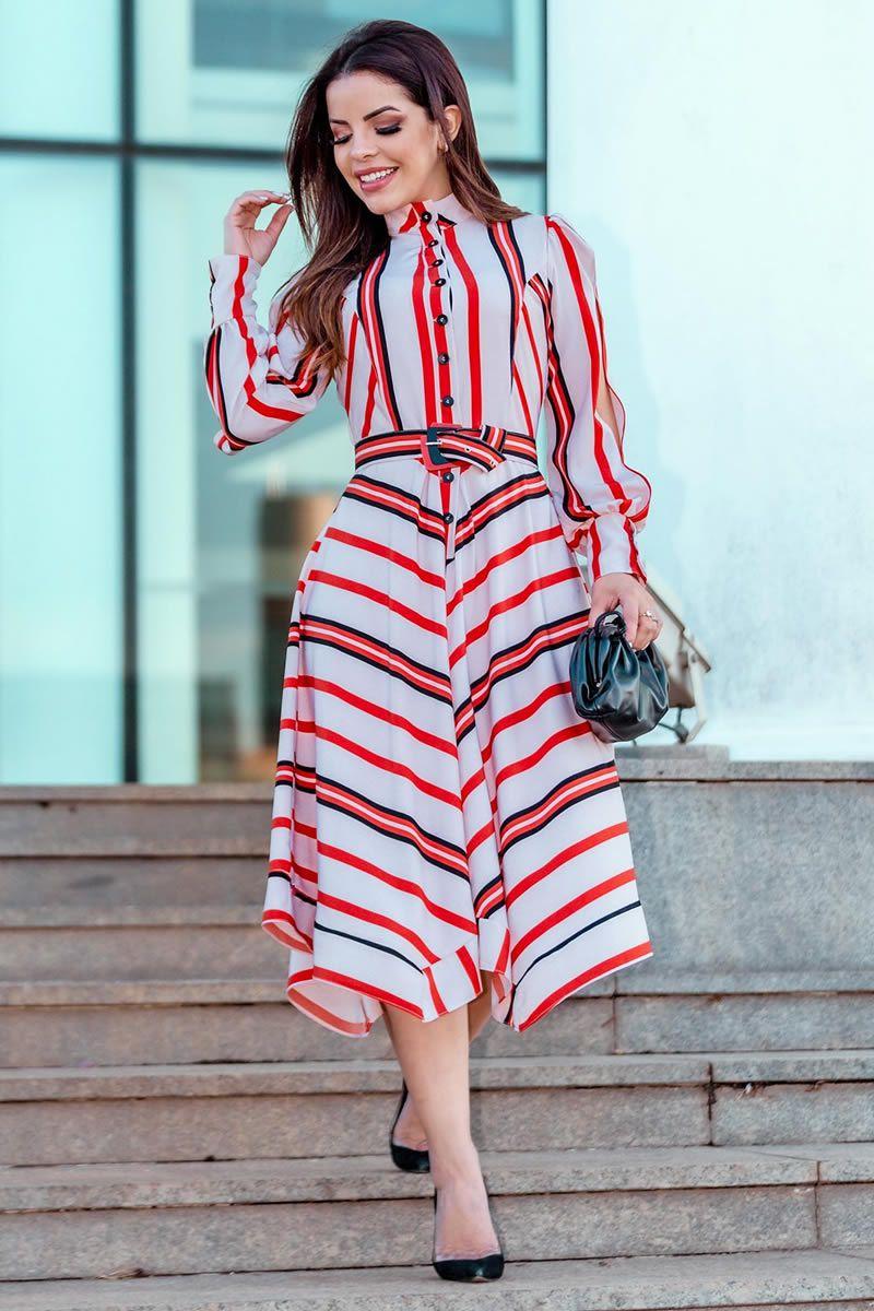 Vestido Crepe Twill Cinto Kauly 2834 Vermelho