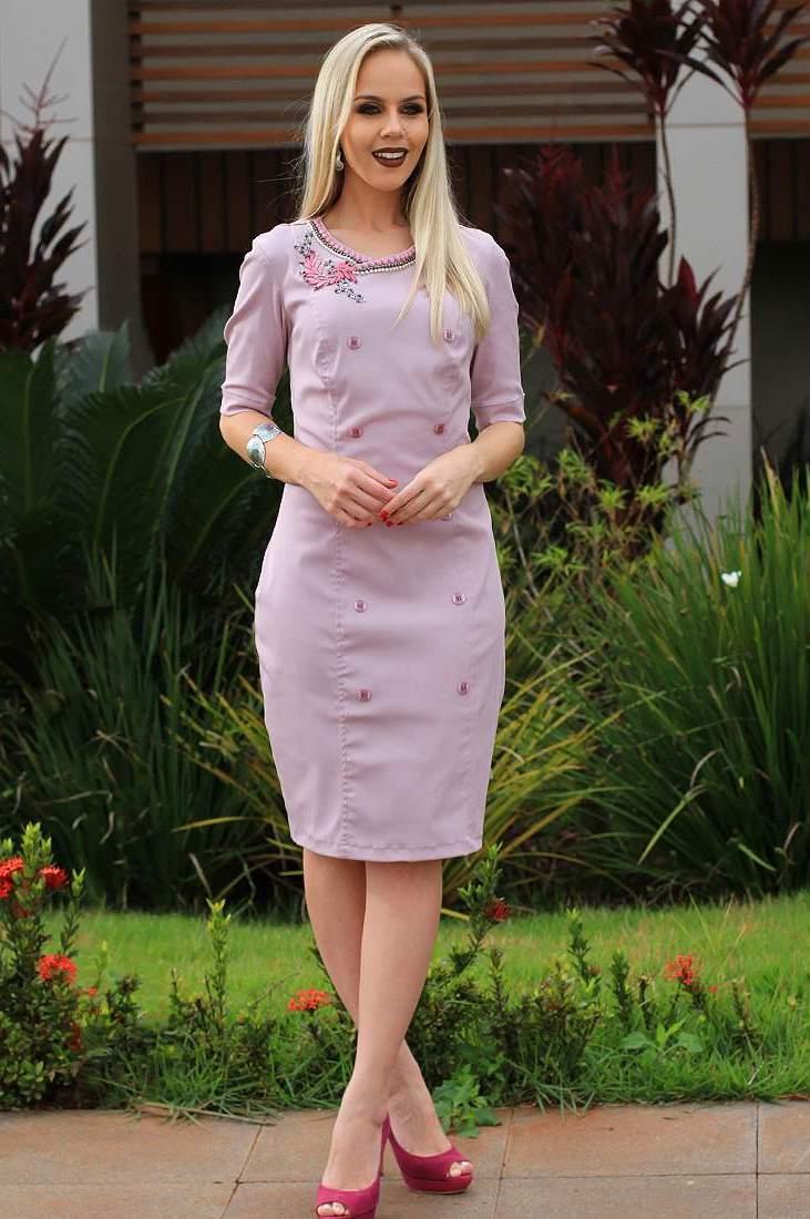 Vestido de Botões e Aplicação Monia Moda Evangélica 71335