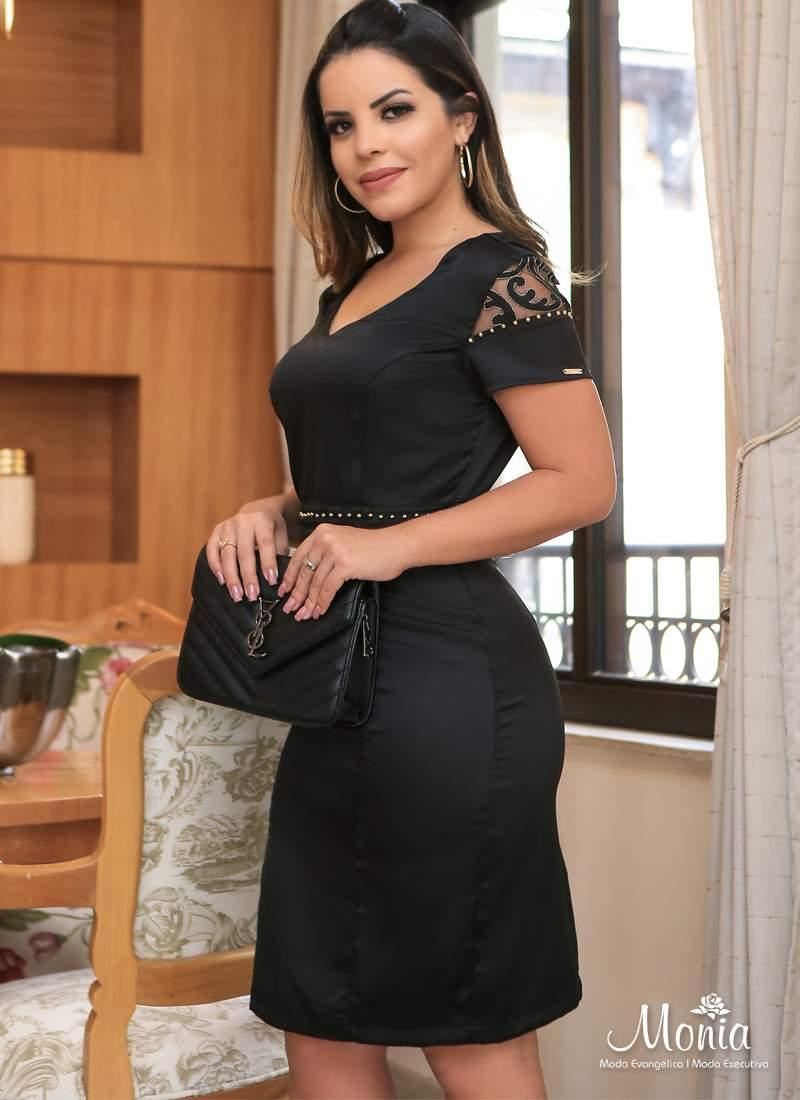 Vestido de Crepe com Tule Monia Moda Evangélica 86103