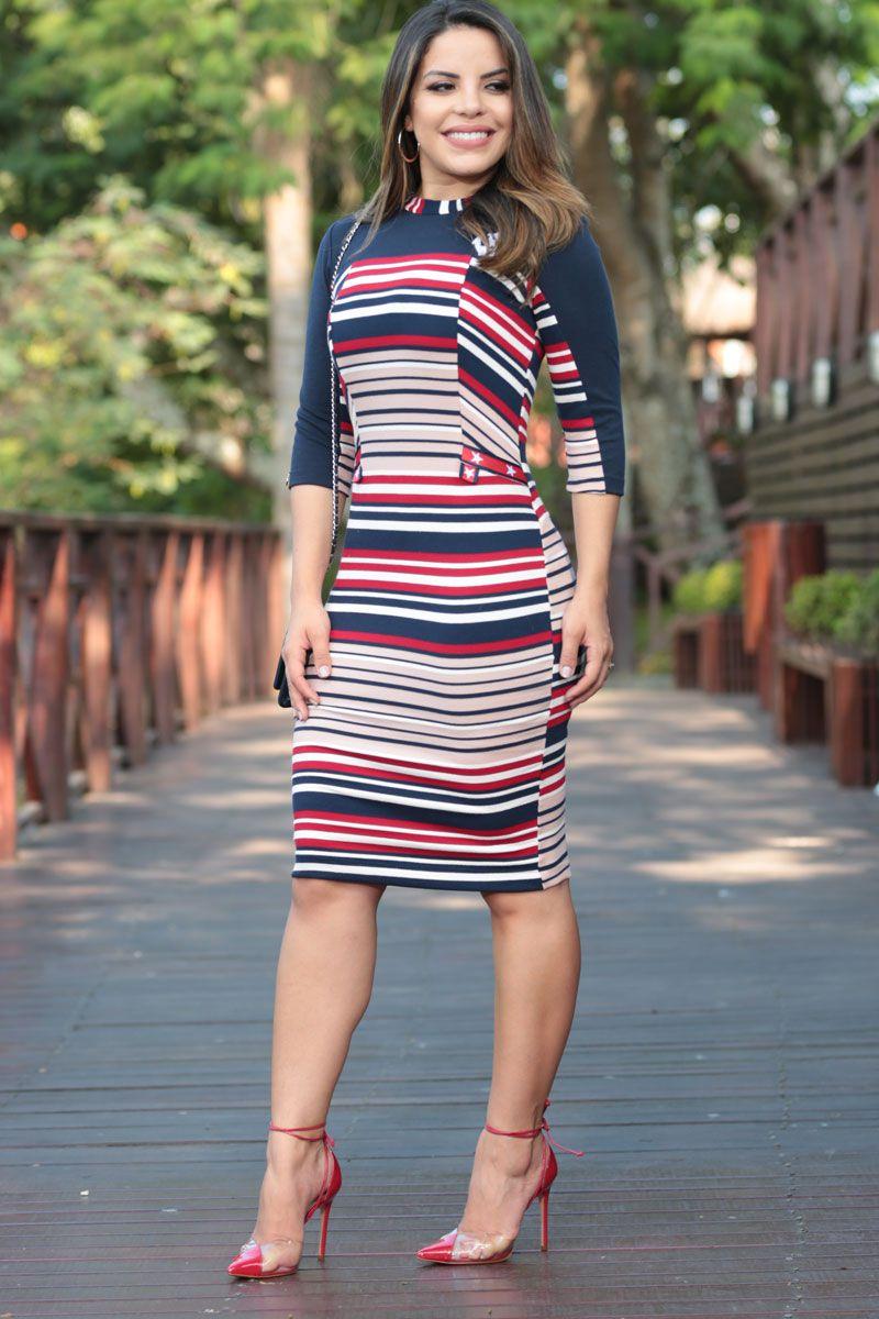 Vestido em Bandagem Listrada com Forro Luciana Pais 92468