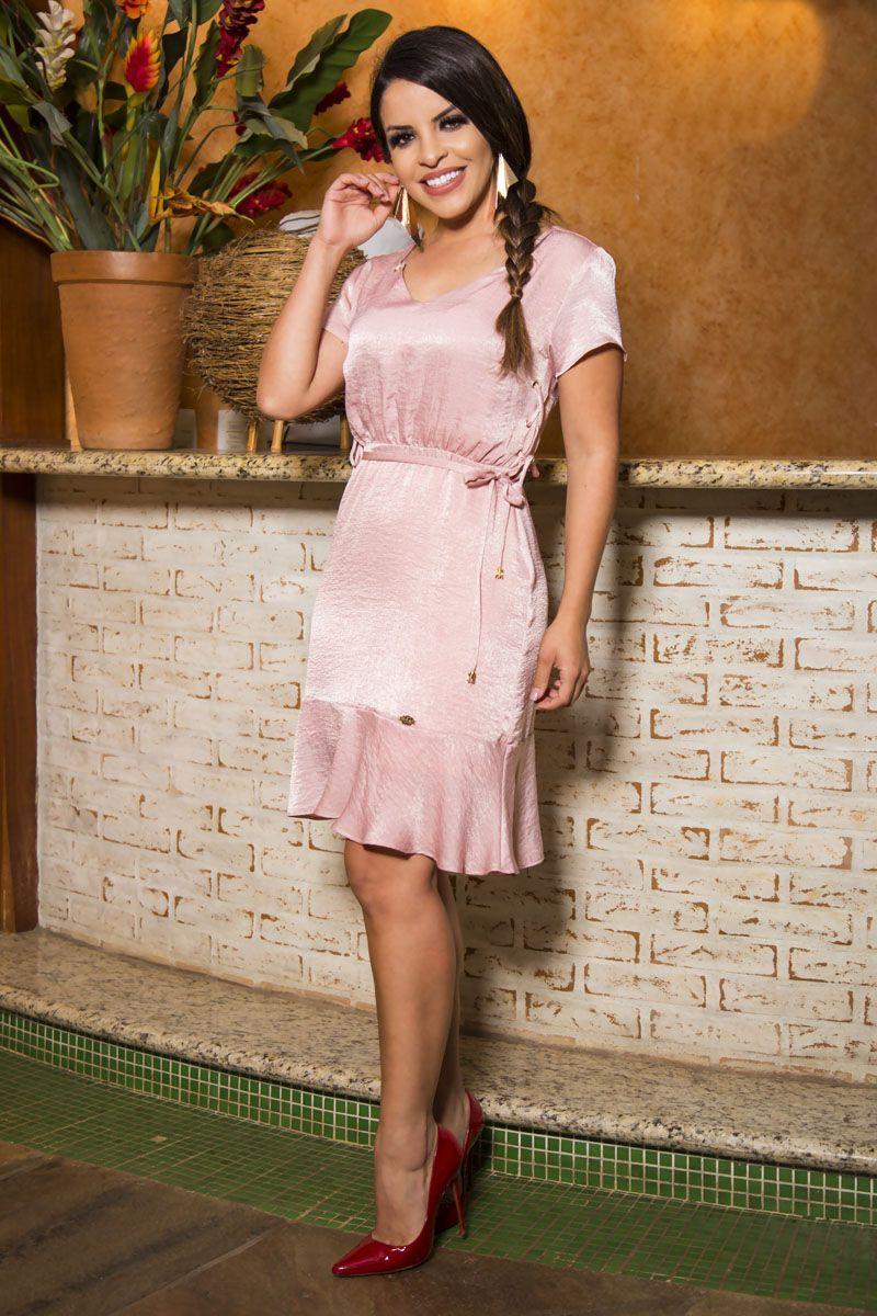 Vestido em Crepe Acetinado com Forro LP 92187