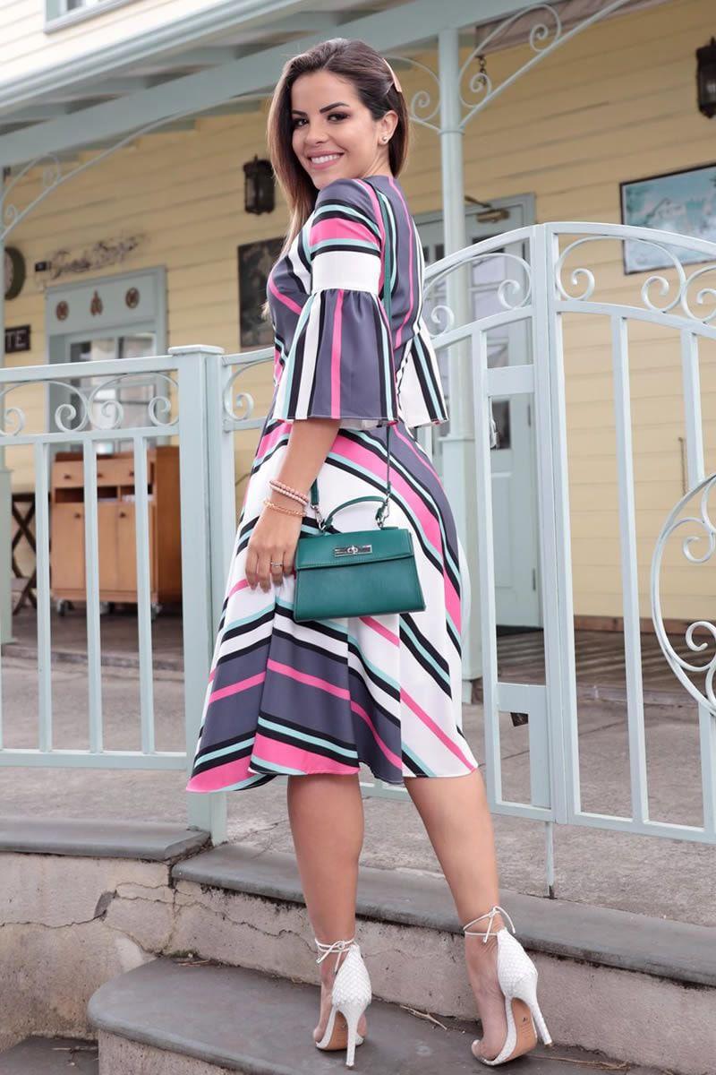 Vestido em Crepe com Elastano Estampa Exclusiva Luciana Pais 92578