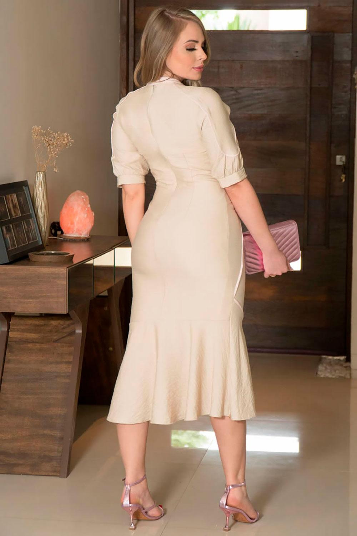 Vestido em Crepe com Vivos Kauly 2936 Bege