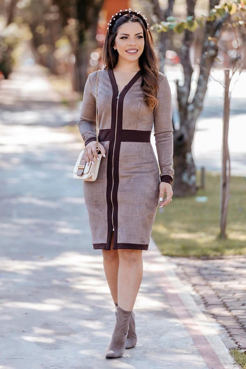 Vestido em Escuba Suede com Zíper Luciana Pais 92769 Marrom