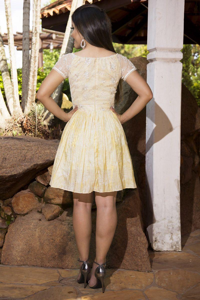 Vestido em Jacquard Bordado com Forro LP 92146