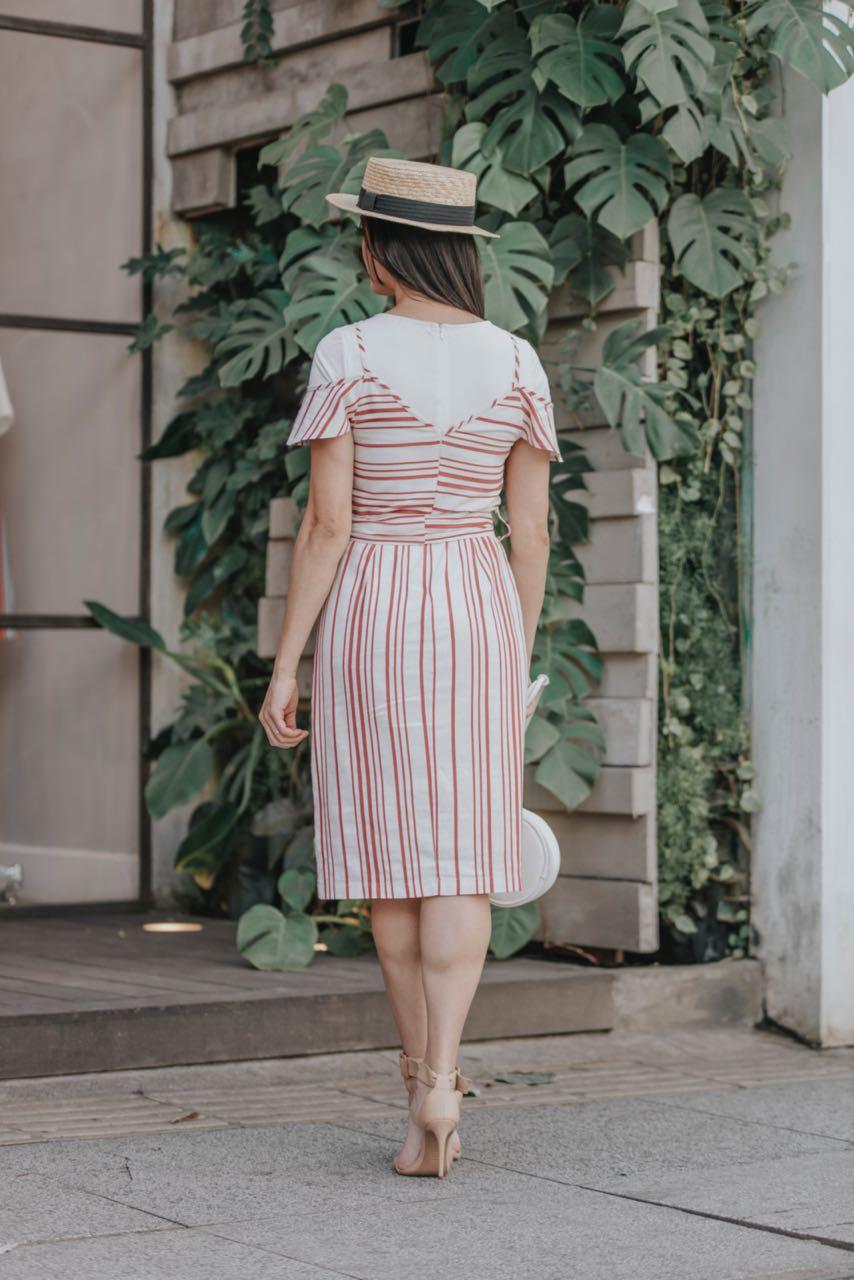 Vestido em Linho Listrado com Forro LP 92287