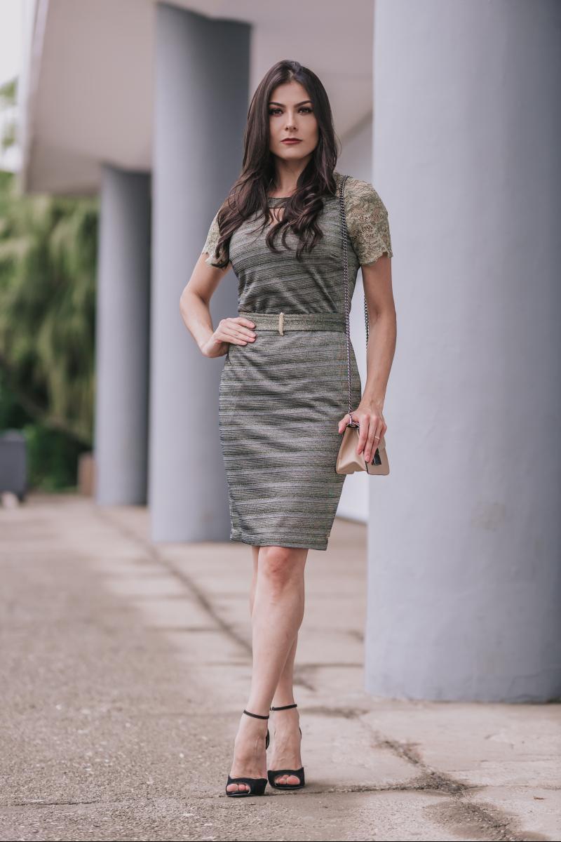 Vestido em Lurex com Forro Detalhe em Renda Luciana Pais 92348