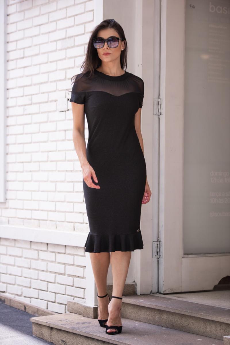 Vestido em Lurex com Forro Detalhe Tule Luciana Pais 92357