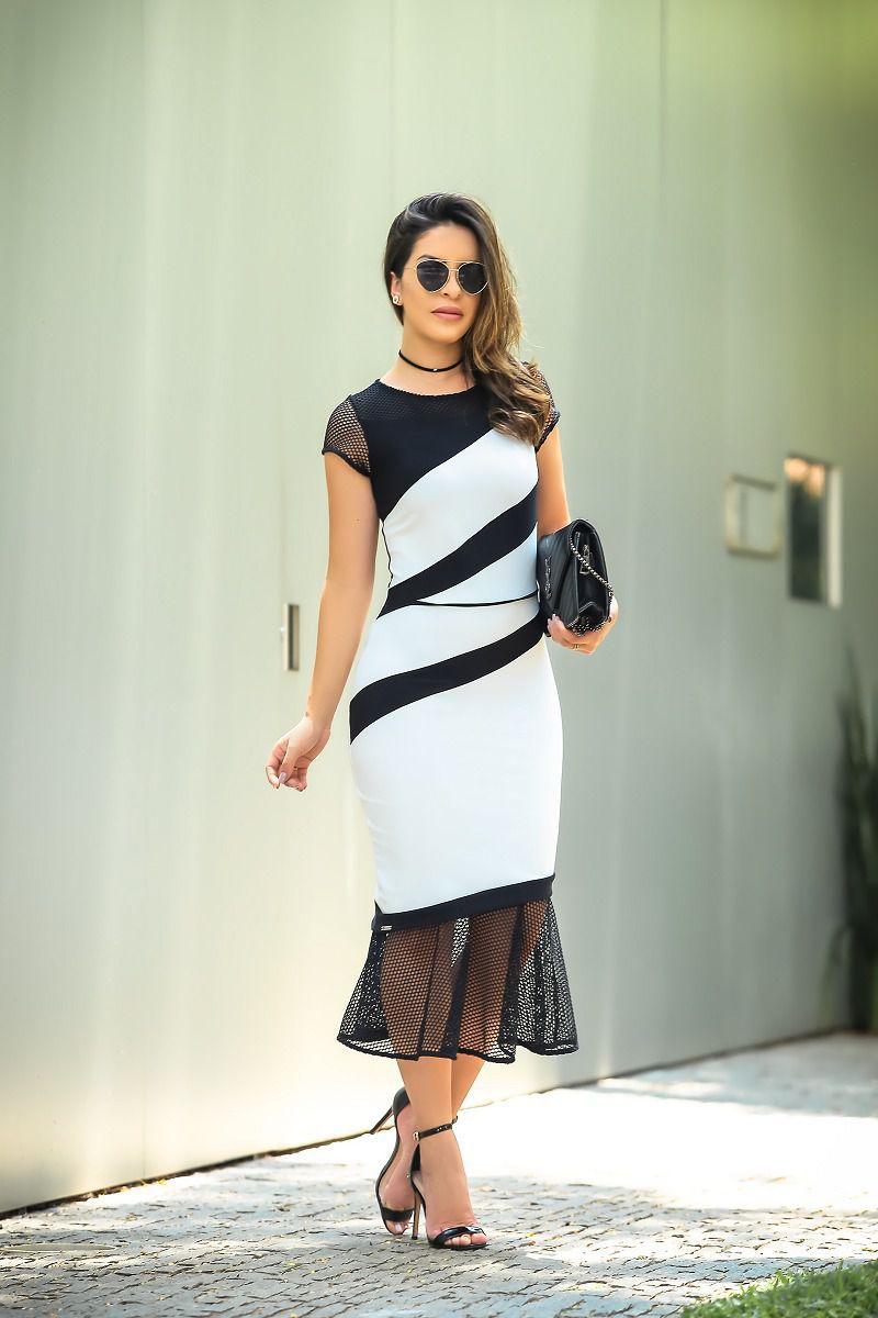 Vestido em malha 2 cores com recortes e barras Kauly 2442
