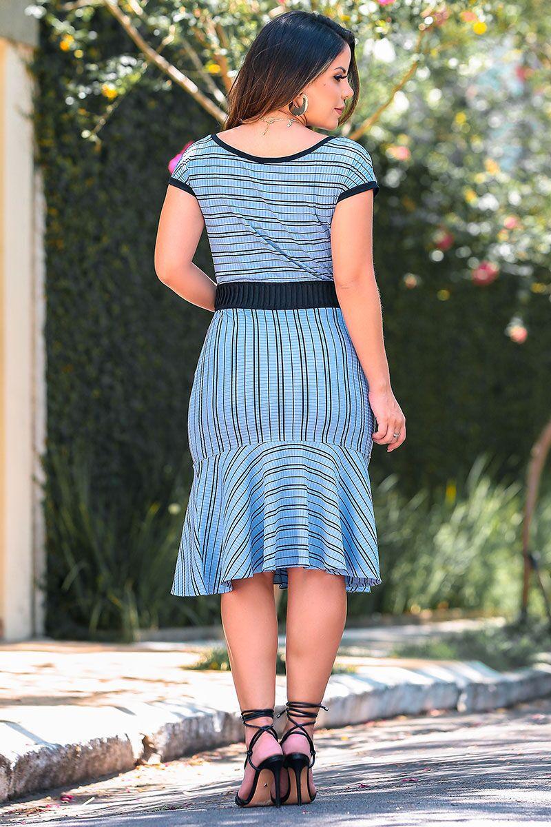 Vestido em Malha Canelada com Detalhe Elastico Luciana Pais 92386
