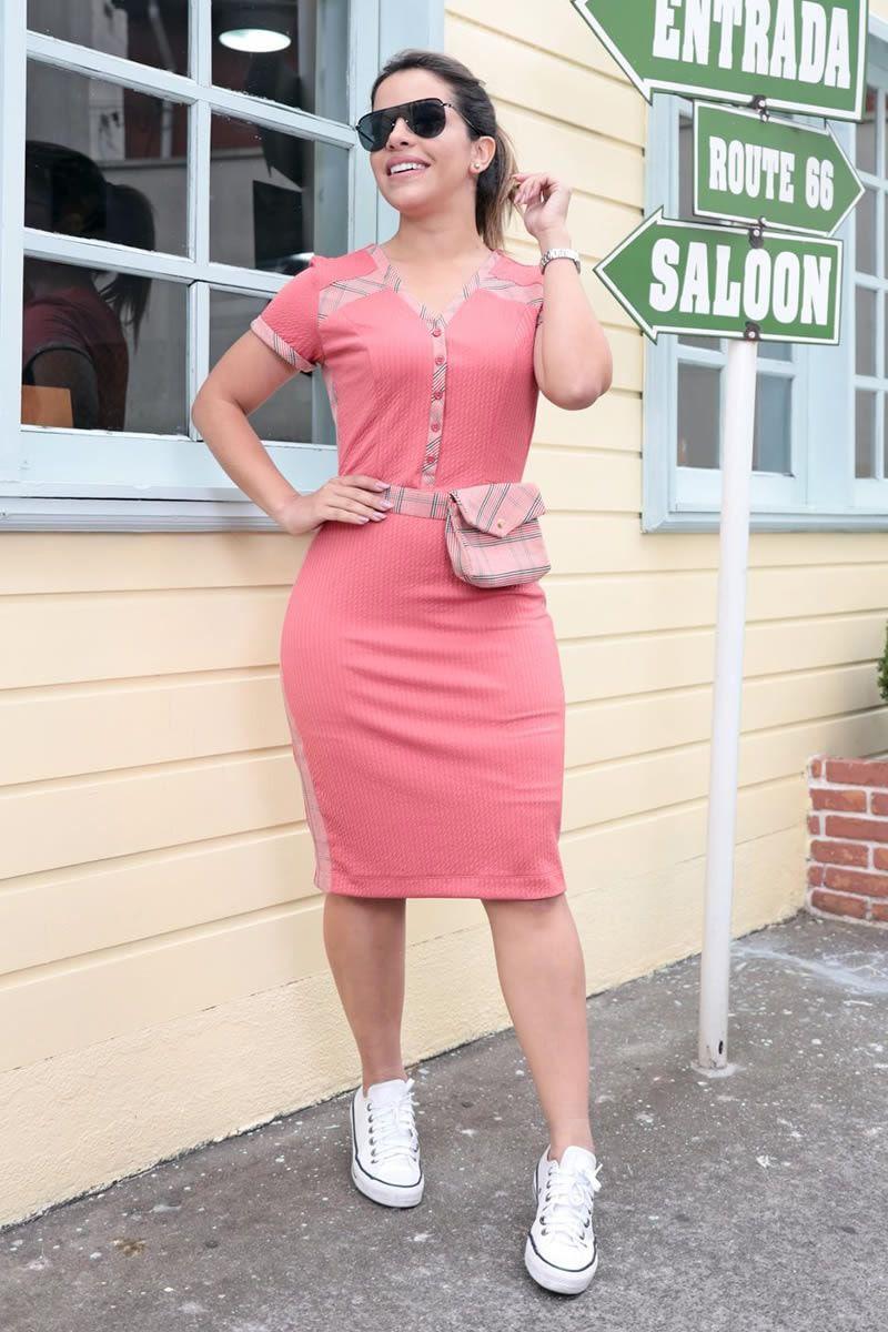 Vestido Malha Canelada com Pochete Luciana Pais 92575