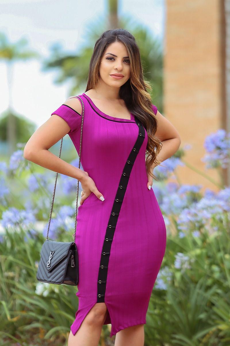 Vestido em Malha Canelada Kauly 2445 Lilás