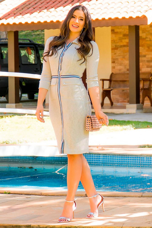 Vestido em Malha Canelada Lurex Luciana Pais 92806 Cinza