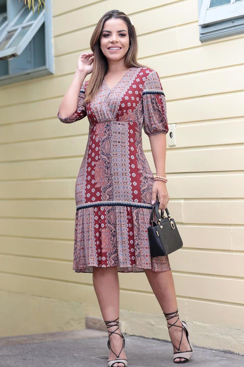 Vestido Malha Estampa em Cachimire Luciana Pais 92577