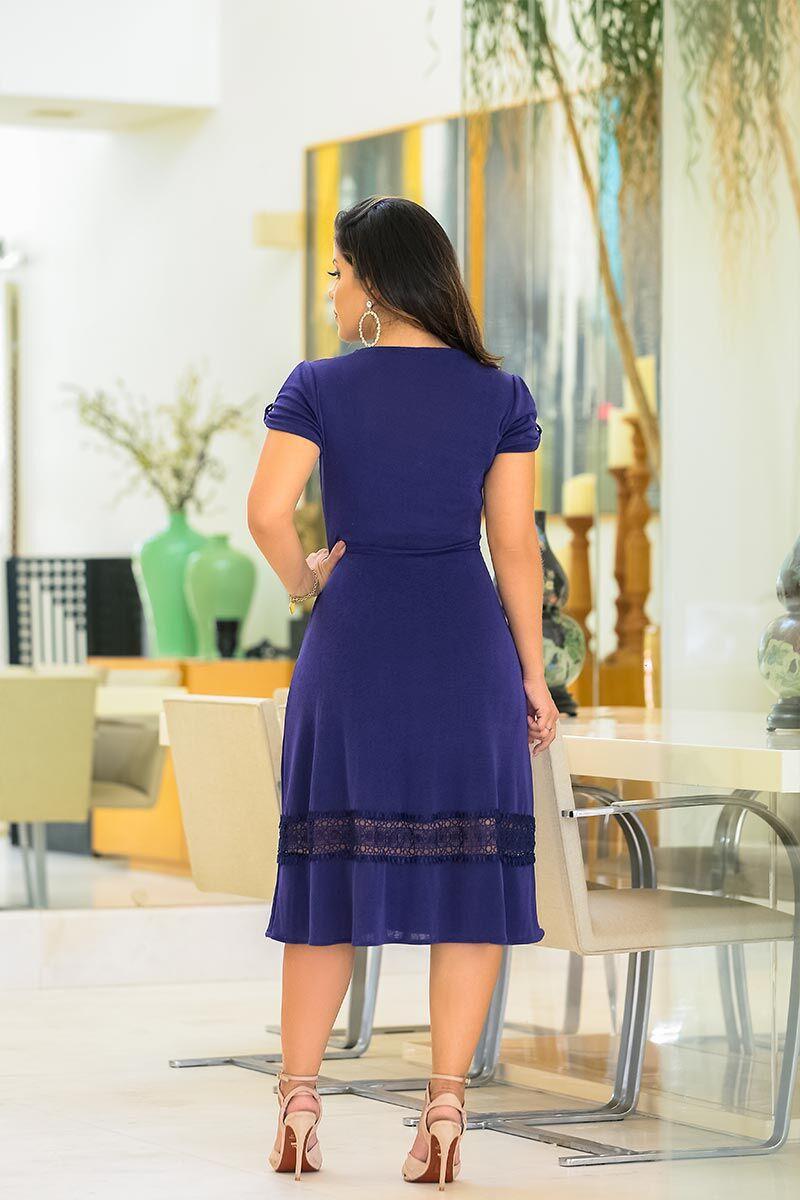 Vestido Malha forrado com Renda Kauly Moda Evangélica 2452