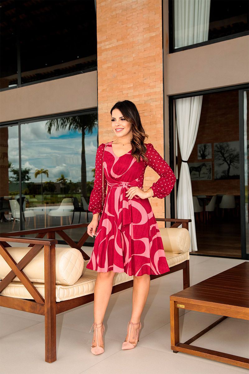 Vestido em Malha Estampado com Forro Luciana Pais 92416