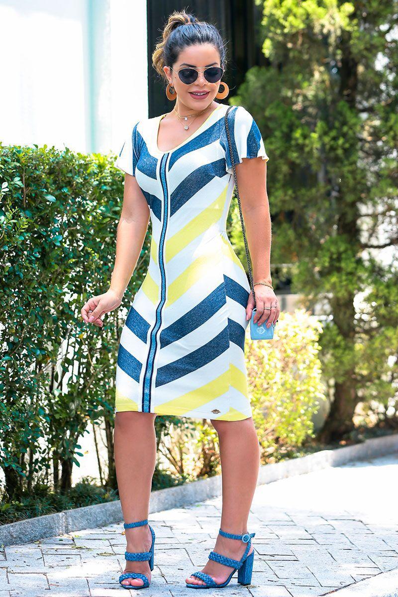 Vestido em Malha Listrada Detalhe Fita Lurex Luciana Pais 92396