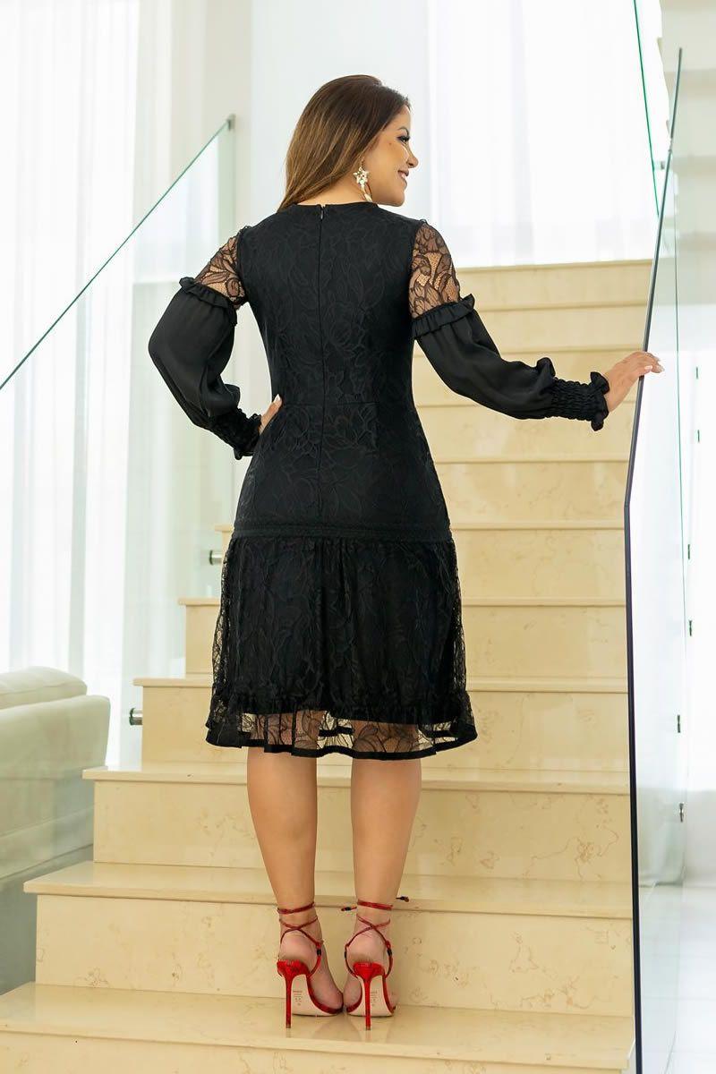 Vestido Renda Detalhes em Renda Entremeio Kauly 2788 Preto