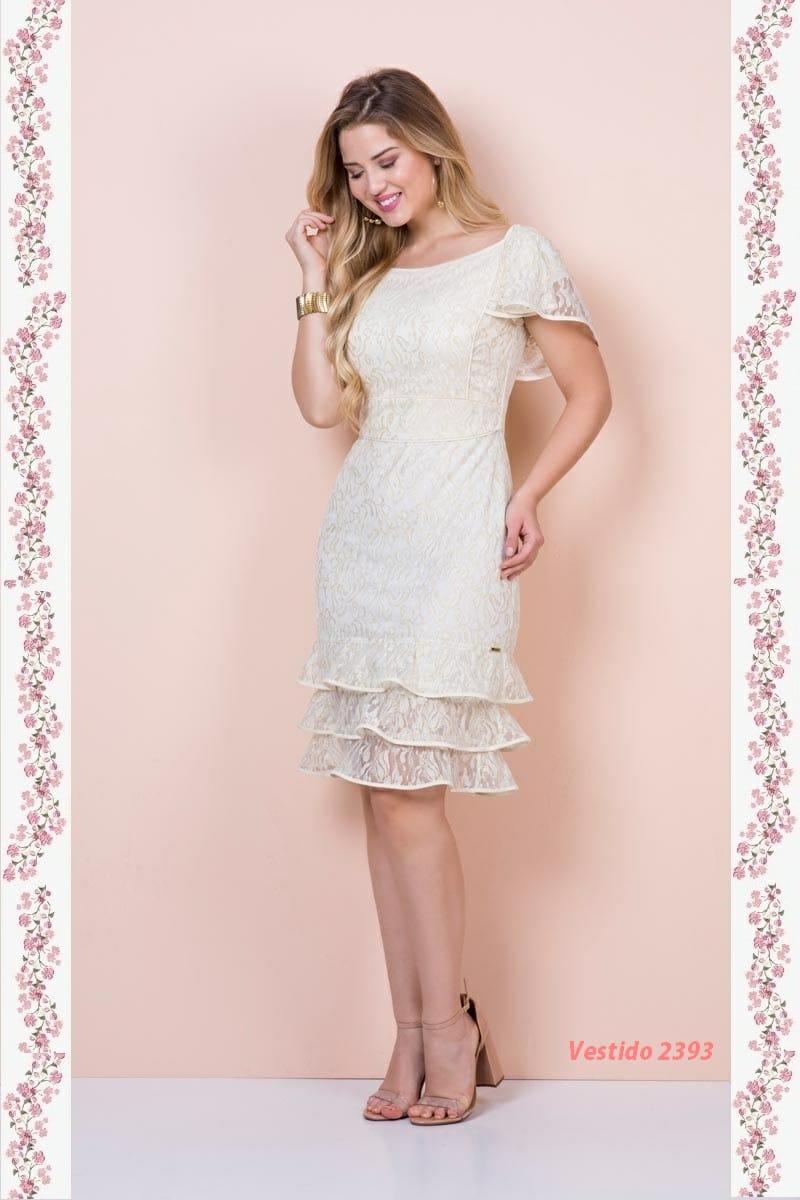 Vestido em Renda com Forro Kauly Moda Evangélica 2393