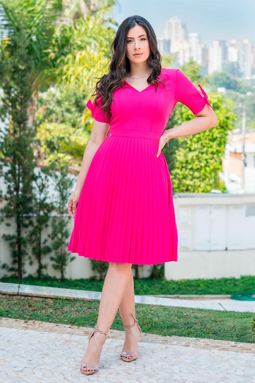 Vestido em Twill Plissado Luciana Pais 92851 Pink