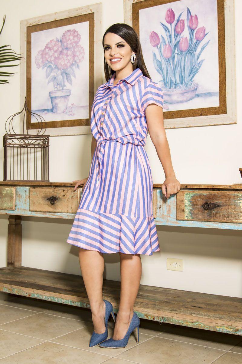 Vestido em Viscose Listrado Luciana Pais 92202