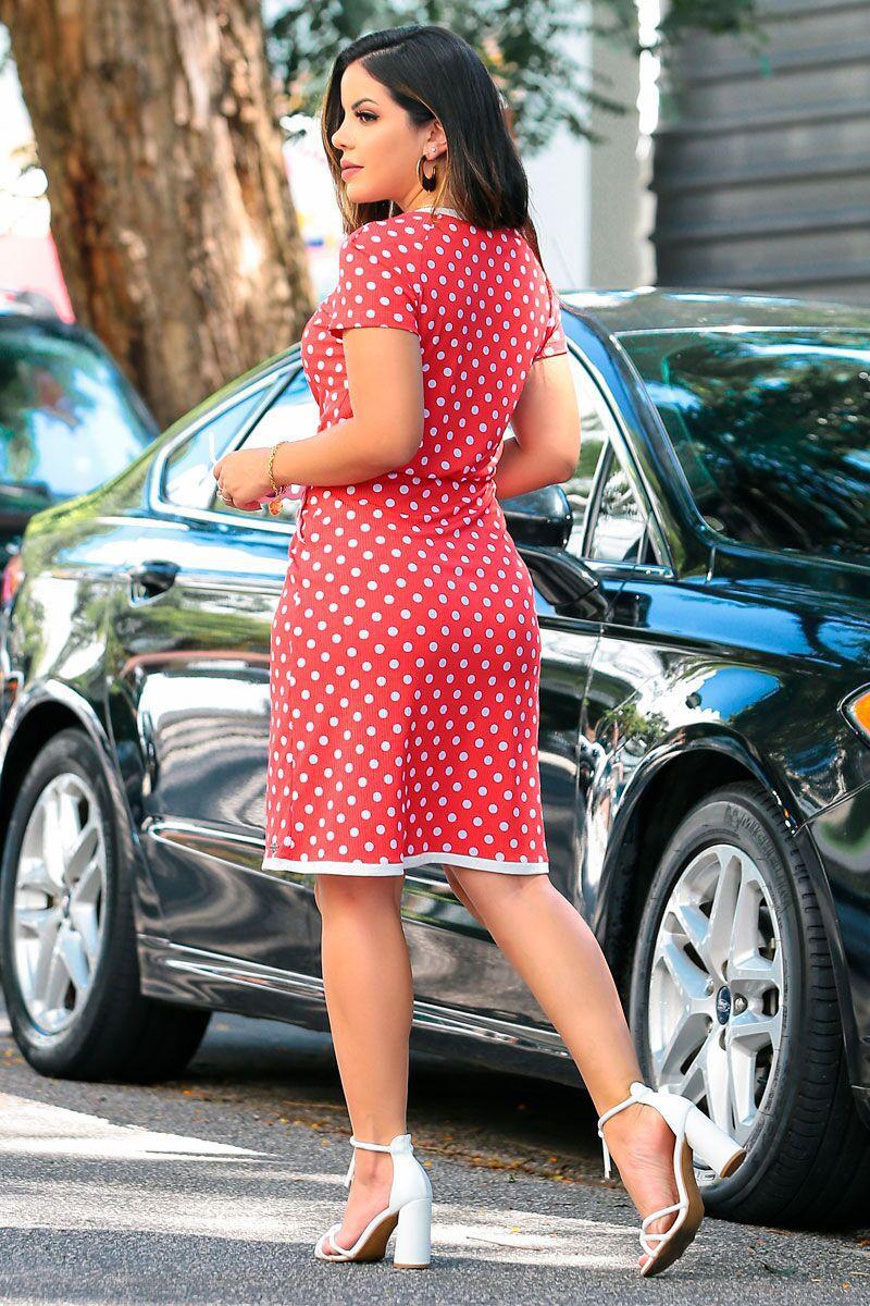 Vestido em Viscose Poa com Elastico Cintura Luciana Pais 92383