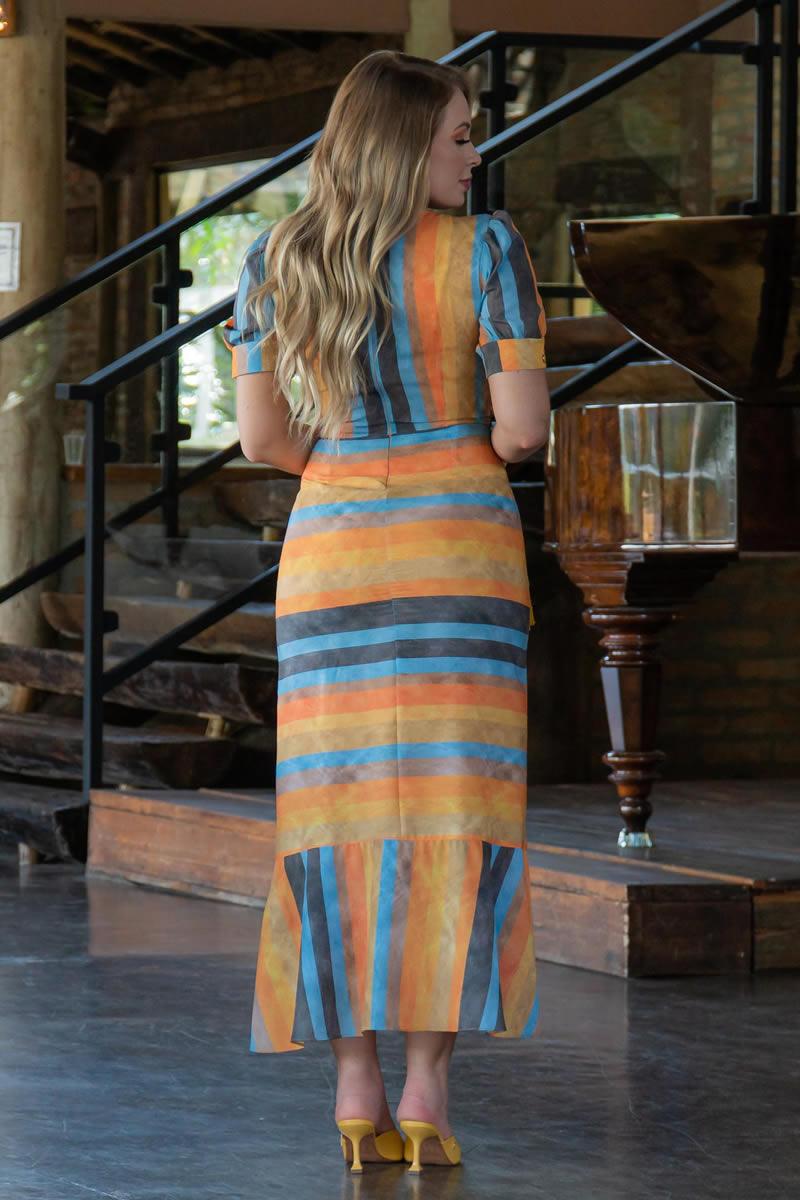 Vestido Estampado em Crepe Kauly 3054