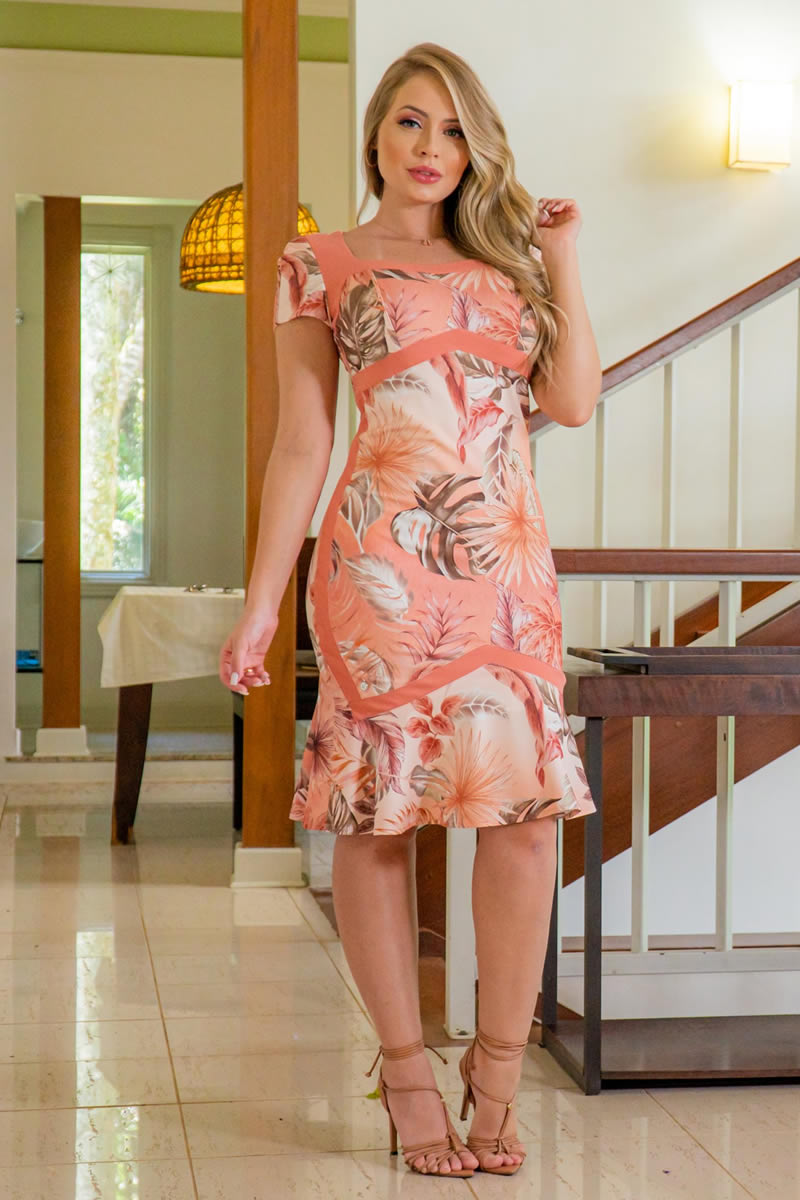 Vestido Estampado Kauly Malha Montaria 3029