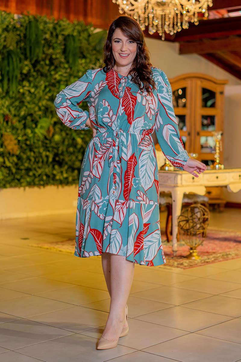Vestido Estampado Kauly Plus Size Viscolinho 3083