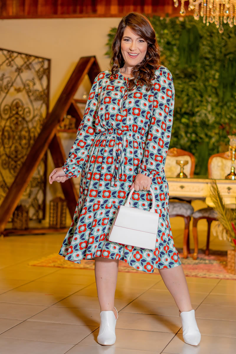 Vestido Estampado Kauly Plus Size Viscolinho 3083 Flores