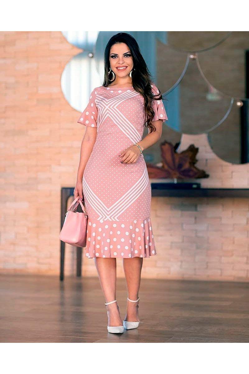 Vestido Estampado Viscose com Forro Monia Moda Evangélica 83100