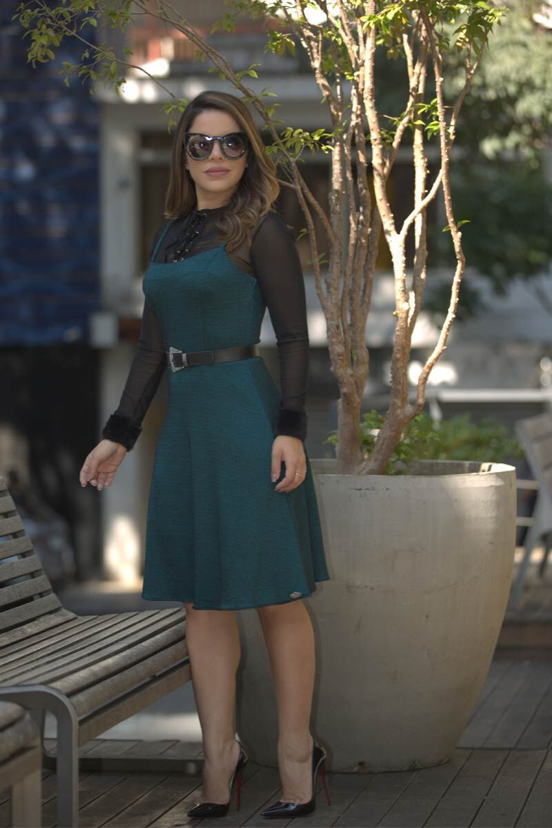 Vestido Evasê Crepe Rayon Mescla Luciana Pais 92449