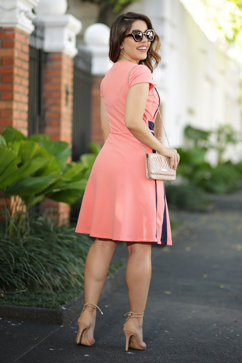 Vestido Evasê Crepe Zara Dual Block Kauly Moda Evangélica 2590