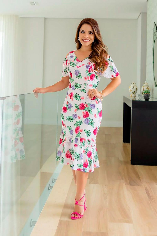 Vestido Floral Crepe Renda Kauly 2746 Branco