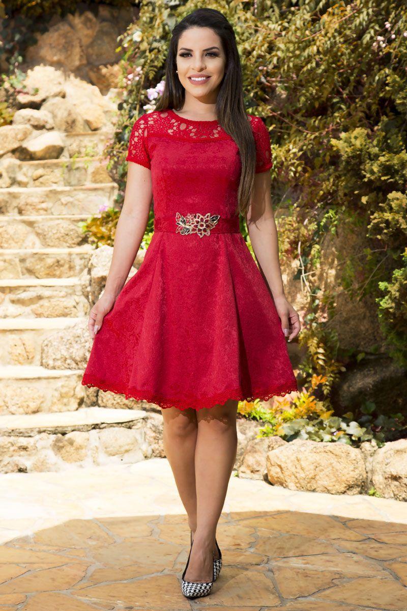 Vestido Jacquard e Renda Luciana Pais 92148