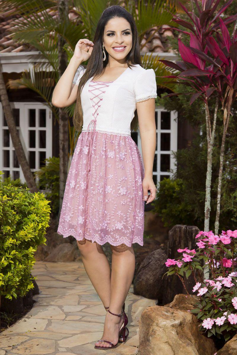 Vestido Jacquard e Renda Luciana Pais 92150