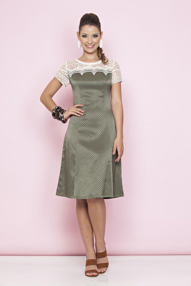 Vestido Jacquard e Renda Guipier Luciana Pais 91052 Verde