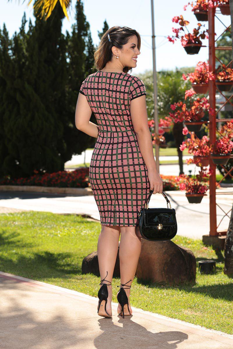 Vestido Jacquard Xadrez com Retilínea na Cintura com Forro Luciana Pais 92492