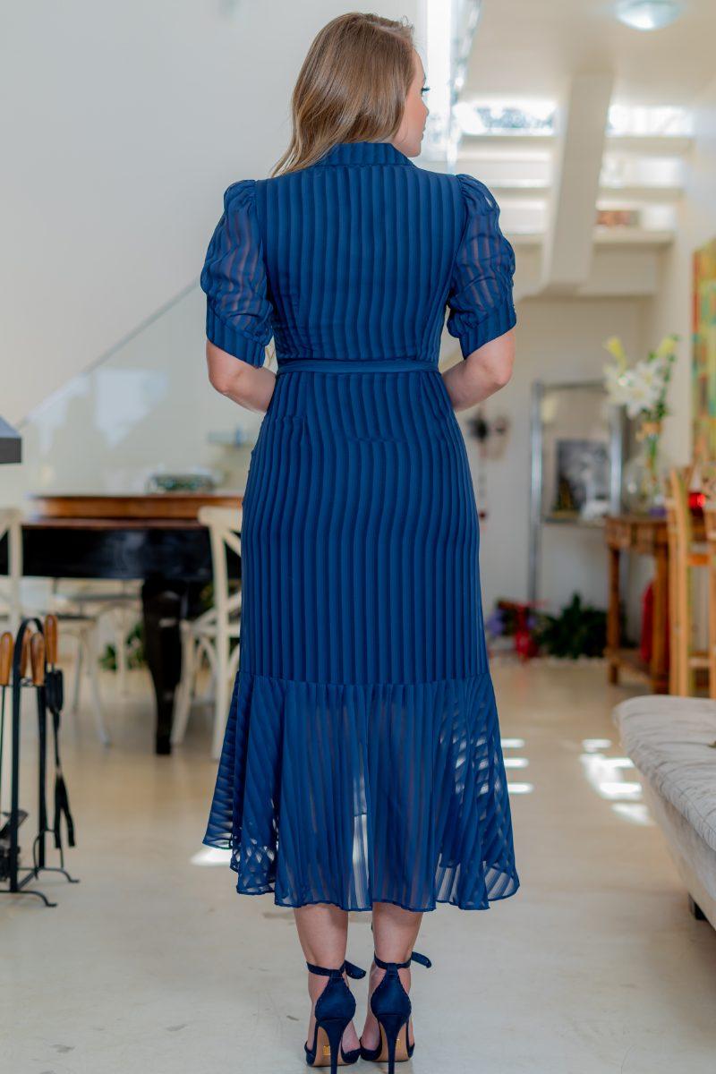 Vestido Kauly Chiffon Azul Botões e Cinto Faixa 3175