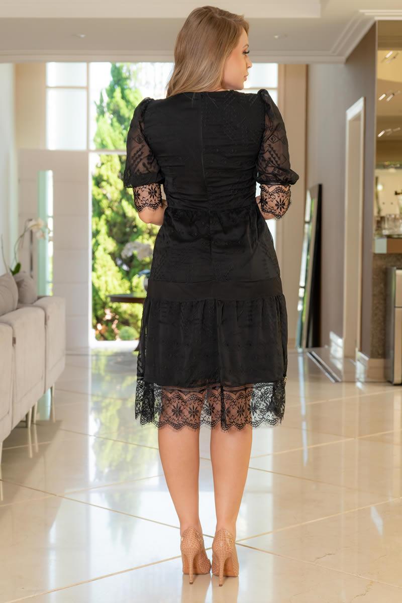 Vestido kauly Chiffon Bordado Detalhes Renda Chantilly Preto 3070