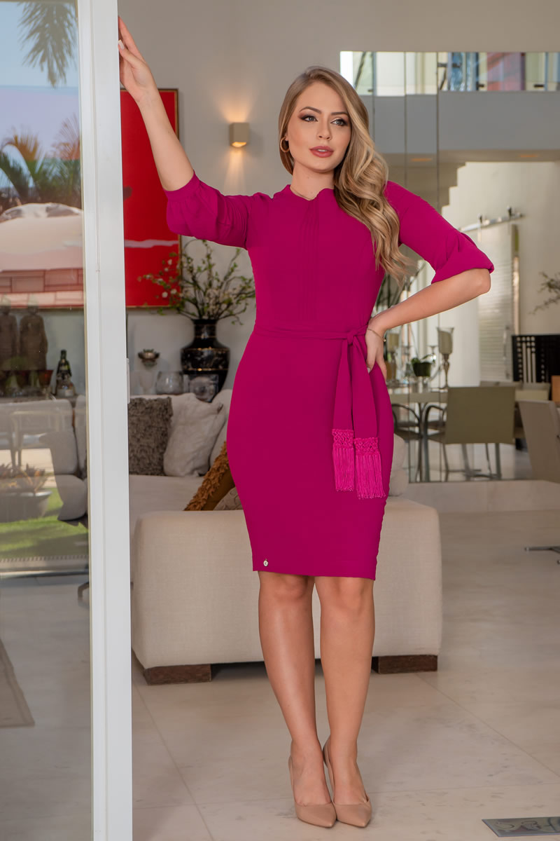 Vestido Kauly Crepe Amassadinho com Cinto Laço  3069 Pink