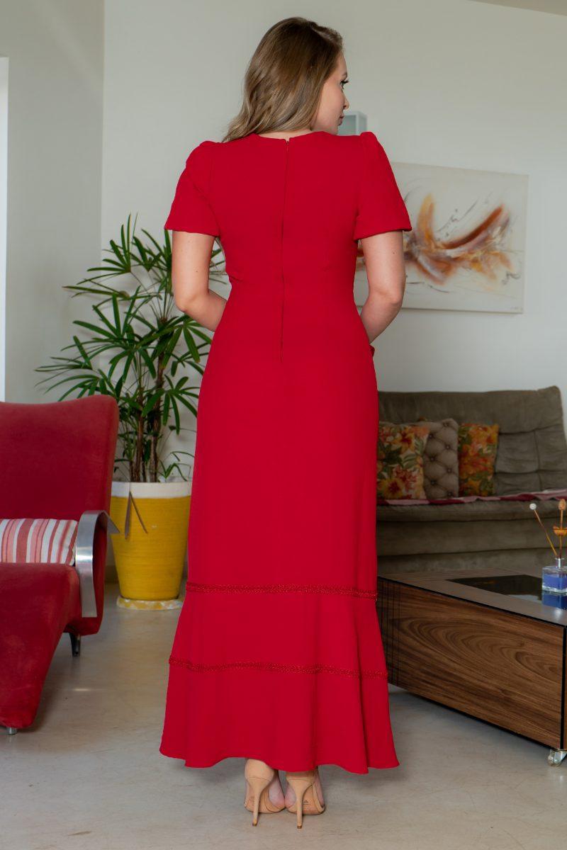 Vestido Kauly Crepe Detalhes Renda Cinto Laço 3144