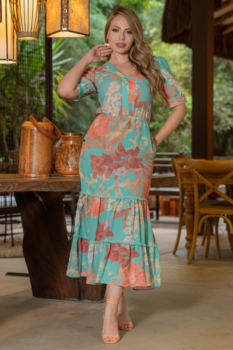 Vestido Kauly Crepe Estampa Exclusiva Detalhes em Renda 3215